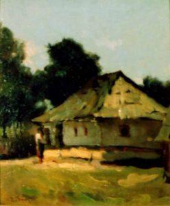 Casa lui Ion Creangă din Humulesti, pictură de Aurel Baesu